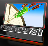 2013 Arrows On Laptop Shows Aimed Plans. And Resolutions royalty free illustration