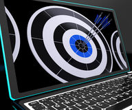 Arrows On Laptop Shows Perfection Royalty Free Stock Photography