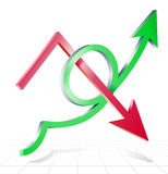Arrows line success growing upward and decline Stock Photo