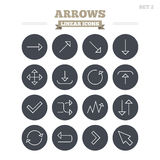 Arrows linear icons set. Thin outline signs Stock Image