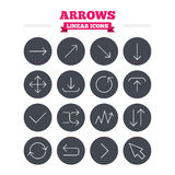 Arrows linear icons set. Thin outline signs Royalty Free Stock Photo