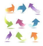 Arrows with lines  illustration set Royalty Free Stock Images