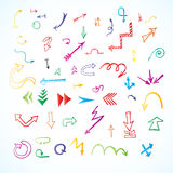 Arrows, lines, pointers  - hand drawn. Stock Photography