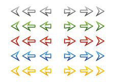 Arrows ll. Some color variant of simple arrow symbols royalty free illustration