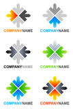 Arrows logo designs. Collection of 6 vector isolated arrow elements with editable lettering Company Name (Arial font) in various colors designs on white Royalty Free Stock Photo