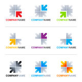 Arrows logo designs. Collection of 9 vector isolated arrow elements with editable lettering Company Name (Arial font) in various designs and colors on white Stock Images