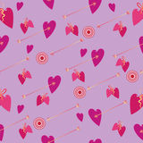 Arrows of Love. St. Valentine`s Day. Seamless pattern. Design for tissue, napkins, wrapping paper, backgrounds to Valentine`s Day Stock Photos