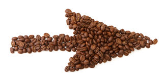 Arrows made from coffee beans Royalty Free Stock Photography