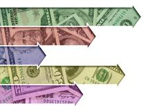 Arrows made of US currency Royalty Free Stock Photography
