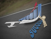 Arrows are marked on a highway to show direction, Success Royalty Free Stock Images