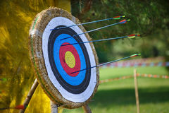Arrows missed target. concept of fail-diligent.  royalty free stock photo