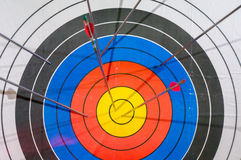 Arrows missed target. concept of fail-diligent.  stock photo