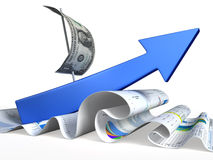 Arrows move up on wave of dollars. Conceptual finance illustration Stock Images