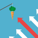 Arrows moving to carrot Stock Photos