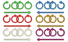 Arrows multicolor. Circular and straight arrows in a multitude of colored gradients Royalty Free Stock Image