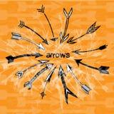 Arrows orange background Stock Images