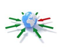 The arrows over globe Stock Photos
