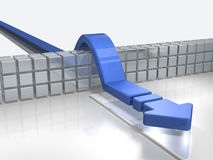 Arrows overcoming obstacles indicate success. 3D illustration Stock Image