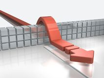 Arrows overcoming obstacles indicate success. 3D illustration Stock Photography
