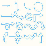 Arrows painted blue line. A variety of arrows painted blue line. on white background Royalty Free Stock Photos