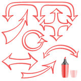 Arrows painted felt-tip pen for your design. A set of arrows on a white background vector illustration