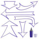 Arrows painted marker for your design. A set of arrows on a white background vector illustration