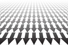 Arrows pattern. Diminishing perspective view. White and black arrows geometric pattern. Diminishing perspective view. Abstract textured background Stock Photography