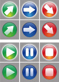 Arrows and player button Icon set. Web ready button on and off status. In the vector file the symbol are in a different layer, easy to modify Stock Image