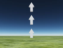 Arrows point upward. Three in field Royalty Free Stock Photos