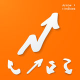 Arrows and pointers. Set of arrows and pointers - 3d paper style. Vector illustration on orange background Royalty Free Stock Photography