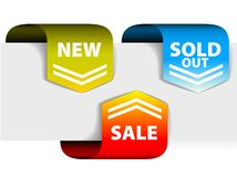Arrows pointing at the new, sold out discount item Royalty Free Stock Photos