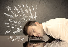 Arrows pointing at sad office worker Royalty Free Stock Photo