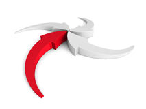 Arrows Pointing To Center Point With Red Leader Royalty Free Stock Images