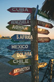 Arrows pointing to different countries of the world in the water Royalty Free Stock Photo