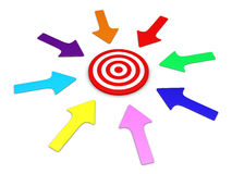 Arrows pointing to target. Different arrows around a target pointing to the center Stock Images