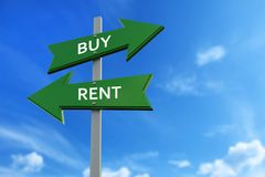 Buy and rent arrows opposite directions. Arrows pointing two opposite directions towards buy and rent Stock Image