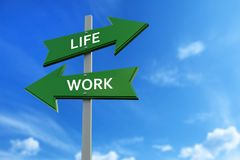 Life and work arrows opposite directions. Arrows pointing two opposite directions towards life and work vector illustration