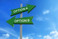 Option a and option b arrows opposite directions. Arrows pointing two opposite directions towards option a and option b stock illustration