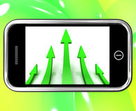 Arrows Pointing Up On Smartphone Royalty Free Stock Photo