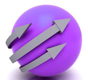 Arrows Purple Sphere Shows Direction Stock Photos