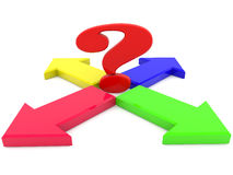 Arrows and question mark on white Stock Photography