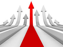 Arrows Race. To success pointing upwards, isolated Stock Image