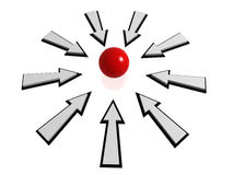 Arrows and red ball. 3d render of Arrows pointing at red ball Stock Photos