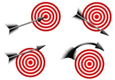 Arrows and Red Bullseye Targets. An illustration featuring your choice of 4 arrow and red bullseye targets stock illustration