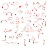 Arrows red. Hand drawn simple arrows set made in vector Stock Photos