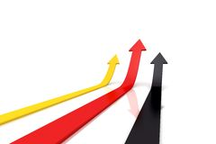 Arrows red, yellow, black moving up Stock Image