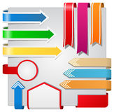Arrows, ribbons and banners Stock Images