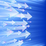 Arrows Right Perspective. Arrows fly from left to right in a perspective view on a blue background; Eps10 Royalty Free Stock Images