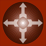 Arrows in ring. Four arrows inside rings on red background Royalty Free Illustration
