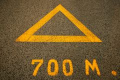 Arrows, the road. Yellow arrows on the road Stock Photo